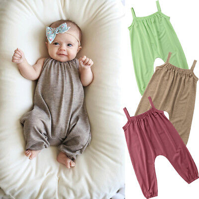 USA Toddler Baby Girls Summer Strap Romper Jumpsuit Harem Pants Clothes Outfits