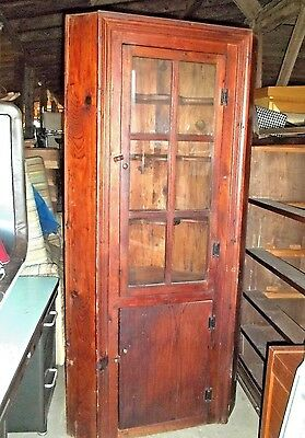 VINTAGE 18th CENTURY STYLE GLASS DOOR Hand Crafted COLONIAL CORNER CUPBOARD