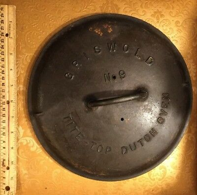 Antique 2552 Cast Iron GRISWOLD No 9 Tite Top Dutch Oven LID ONLY Feb 10 1920