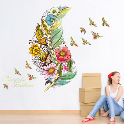 Removable Home Room Colorful feathers Wall Stickers Flower Butterfly DIY Decor