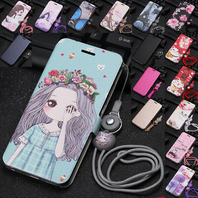 For Huawei Y5 Y9 2018 Y7 Pro 2017 Painted Leather Wallet Flip Stand Case Cover