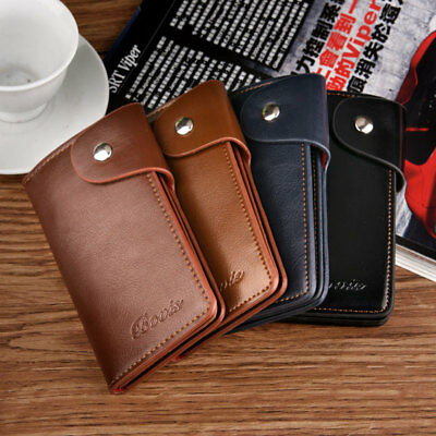 Men Soft Leather Car Key Case Holder 6 Keyrings Credit Card Cash Wallet Purse