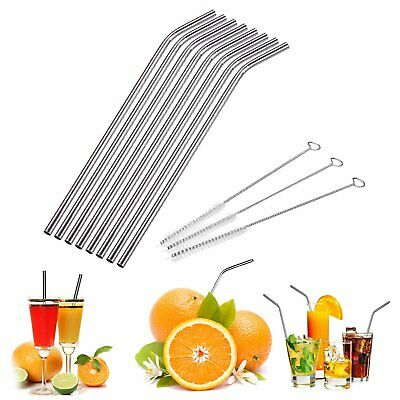 4/6/8pcs Reusable Metal Stainless Steel Drinking Juicr Straws with Cleaner Brush