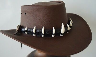 Crocodile / alligator  Leather Hat Band 9 Genuine teeth in tin  BLACK  HAT EXTRA