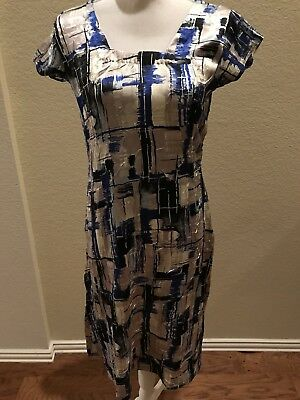 Reduced Price! Free shipping. Crushed Beige, Silver and Blue Pant Suit