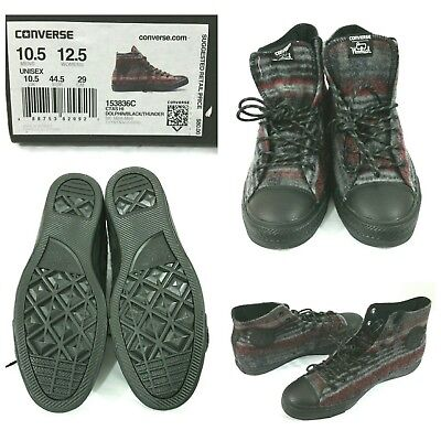 c2f6cc26424f Converse Mens Sneakers Chuck Taylor Size 10.5 Woolrich 153836C Gray Black  Red