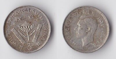 1941 South Africa three pence silver coin