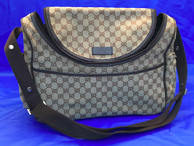 7f4a8773c64 AUTH GUCCI BASIC GG Supreme Leather  Logo Canvas Diaper Bag