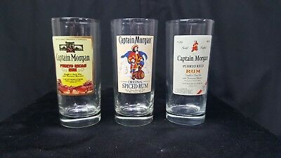 Set of 3 15 oz. Captain Morgan Rum Drinking Glass Cups Pirate Life