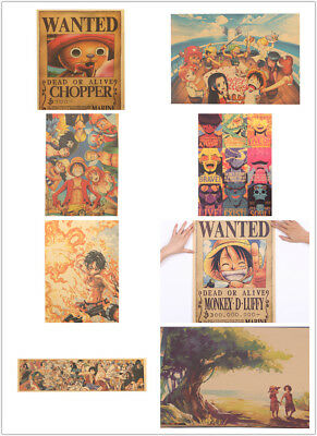Classic Anime One Piece Collection Poster Kraft Paper Bar Decor Wall Painting