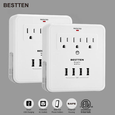 Electrical Socket Outlet Wall Mount Adapter 3 Outlet with 4 USB Charging Ports