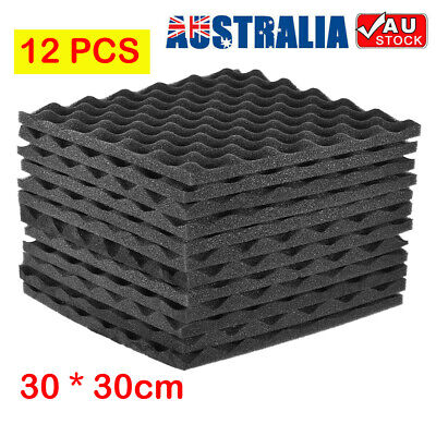 12X Studio Acoustic Foam Sound Absorbtion Proofing Panel Wedge 30*30cm Home KTV