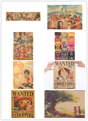 Classic Anime One Piece Series Poster Kraft Paper Cafe Decorative Wall Sticker