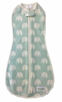 Woombie Original Baby Cocoon Swaddle (0 to 3 Months, Blue, Serene Elephants)