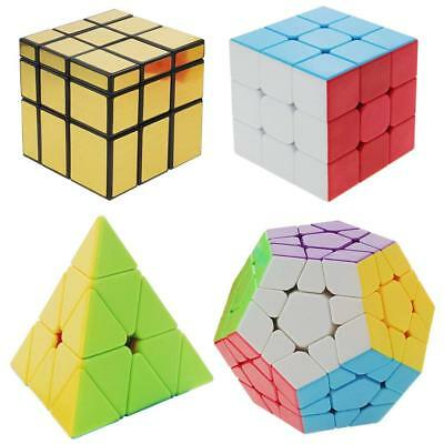 Speed Cube Set, Stickerless Magic Cube Bundle of 4 Pack 3x3x3  Kid Toy Game Gift