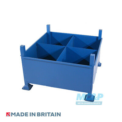 Metal/Steel Stillage with Solid Sides and Fixed Partitions - Made in the UK