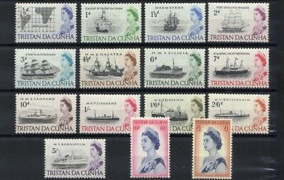 "1965 Qe11 Tristan Da Cunha Part Set Of 14 Mint ""ships"" Definitive Stamps To 10/-"