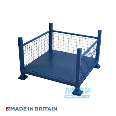Metal/Steel Stillage (Pallet) with Mesh Sides and Open Front - Made in the UK