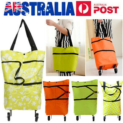 AU Shopping Trolley Cart Bag Foldable Market Luggage Wheels Pack Basket Pull Bag
