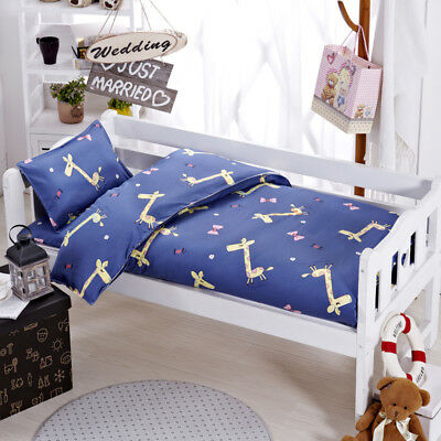 Blue Giraffe Animal Baby Bedding Crib Cot Set Quilt Cover Padded Cotton Nursery