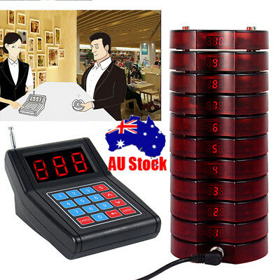 Restaurant Wireless Paging Queuing System+10 Call Coaster Pager For Auto Shop AU