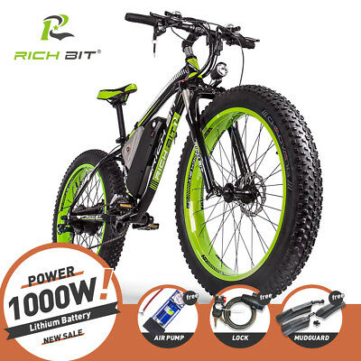 "RICH BIT Electric bike 1000W 48V 17AH Fat Bicycle 26"" ebike 4.0 Tire Cruiser"