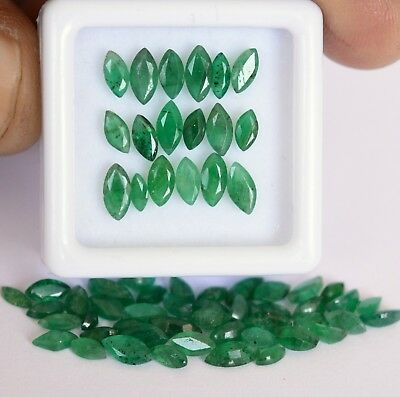 2.29 Cts Natural Emerald Marquise Cut Mix mm Lot 15 Pcs Untreated Loose Gemstone