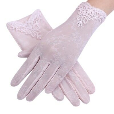 Summer Women's Lace Silk Bridal Driving Anti UV Sun Protection Gloves Mittens