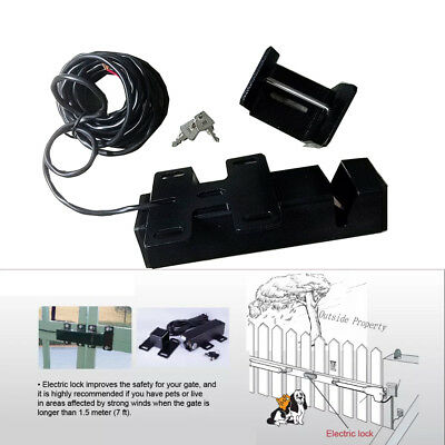 Black Electric pin Lock latch for Swing Gate Opener Operator 24V LM149