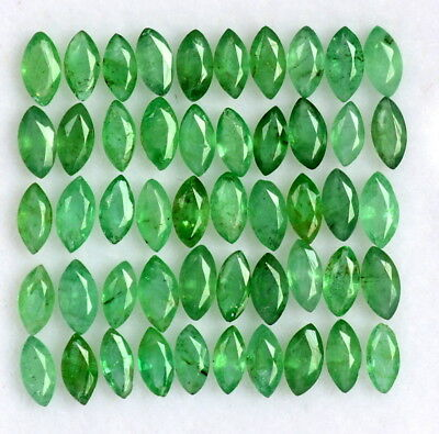 2.52CTS Natural Emerald Marquise Cut 4x2 mm Lot 32 Pcs Calibrated Loose Gemstone