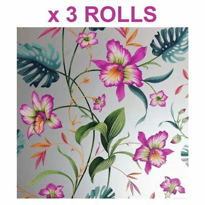 Tropical Palm Leaf Wallpaper Flowers Floral Metallic Silver Glitter Arthouse x 3