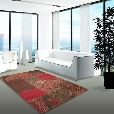 TAPIS MODERNE DESINGER Salon Contemporain Patchwork Rouge ...