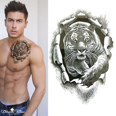 Tiger Burst Temporary Tattoo -  3D Realistic Waterproof Transfer Mens Womens