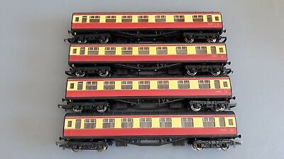 Hornby Stanier Ex-Lms Br Coaches X 4 Good.condition Unboxed Oo Gauge(Di)