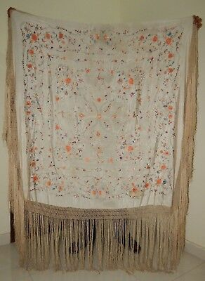 Antique Beautiful Chinese Hand Embroidered Silk Piano Shawl Multi Color (Ps176)