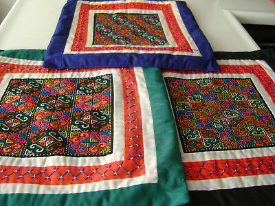 """Lot of 3 Vintage Panama 15"""" Embroidered Zippered Pillow Case Set (1980s) 'RARE'"""