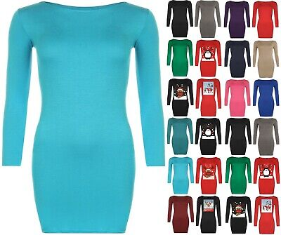 New Womens Long Sleeve Stretch Bodycon Ladies Plain Short Mini Dress Top 8-14 LN