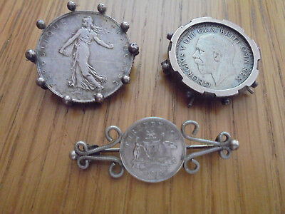 3 antique silver coin brooches