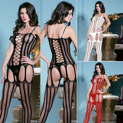 3 Colors Womens-Sexy-Lingerie-Floral-Fishnet-Body stockings-Dress-Club-Underwear