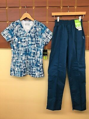 NEW Caribbean Blue Print Scrub Set With Med Couture XS Top & Landau XS Pants NWT
