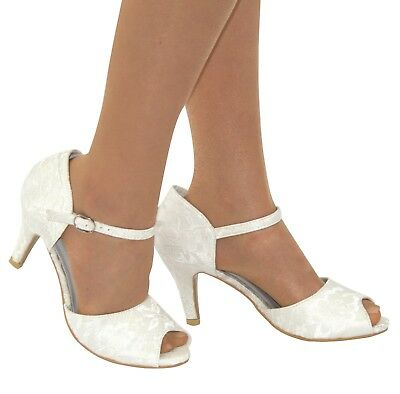 Ladies Ivory Lace Embellished Mid Heel Ankle Strap Peep Toe Wedding Shoes 3-8