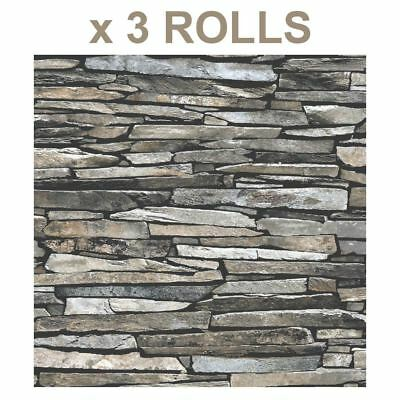 Grey Brick Wallpaper 3D Effect Slate Stone Rustic Faux Paste The Wall Vinyl x 3