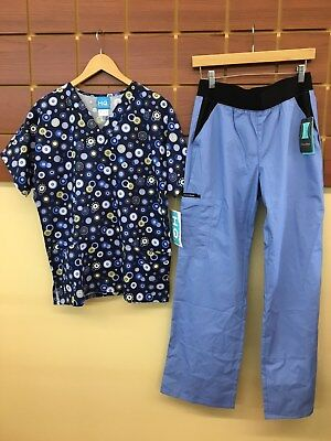 NEW Cherokee Ceil Blue Print Scrubs Set With Small Top & Small Pants NWT