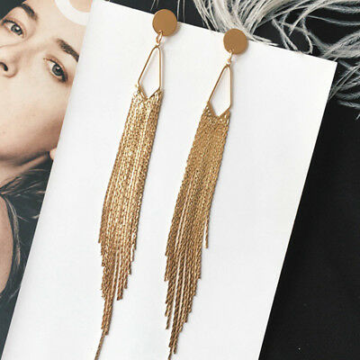 Fashion Women Long Tassel Earrings Long Chain Drop Dangle Earrings Jewelry Gift