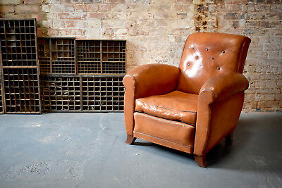 Vintage French Leather Club Chair Antique Button Back CAN DELIVER