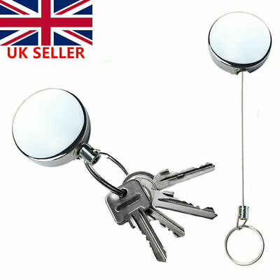 Recoil Extendable Metal Wire 60cm Key Chain Ring Clip Pull Keyring Retracting