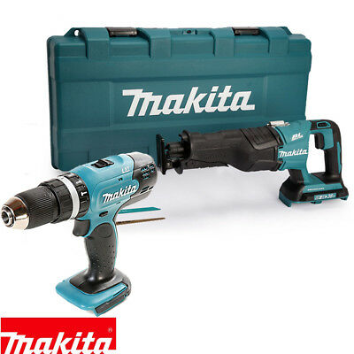 Makita DHP453 18V Combi Drill & DJR360ZK Recip. Saw Twin Pack Body Only