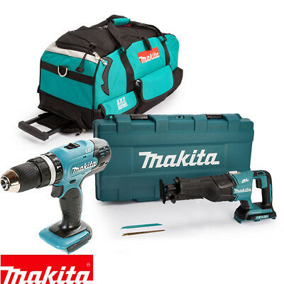 Makita DHP453 18V Combi Drill & DJR360ZK Recip. Saw Twin Pack With LXT600 Bag