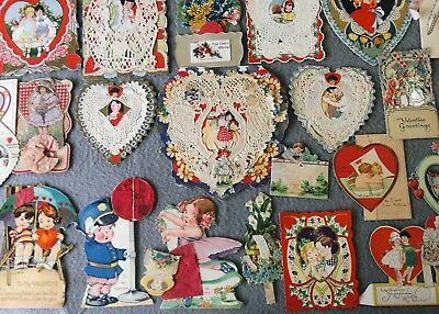 Antique Victorian Vintage Valentines Cards Paper Lace Doily  Embossed