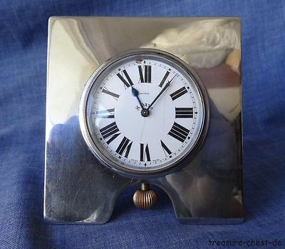 Antique / Vintage 8 Day Desk Clock, Swiss, Moba Enamel Face, Ca 1900-1920, Works